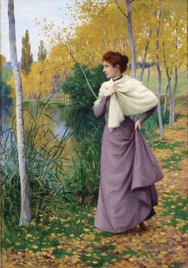 Осень на берегу озера. Холст, масло. Леопольд Франсуа Ковальский (1856-1931), французский художник