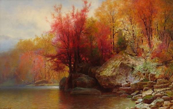 Осень в Гудзонском нагорье. Александр Лоури (1828-1917), американский пейзажист и портретист