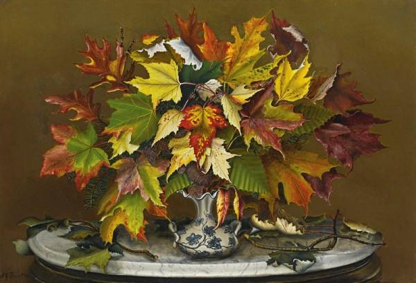 Осенние листья. Сара Дж. Прентисс (Sarah J. Prentiss, 1823-1877), американская художница