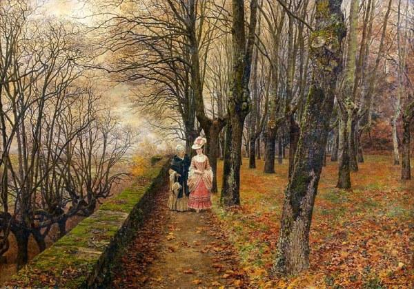 Осенний променад, 1874. Фирмен-Жирар, Франсуа-Мари (фр. François-Marie Firmin-Girard; 1838-1921), французский исторический живописец, пейзажист, портретист и жанрист.
