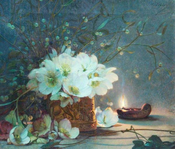 Рождественские розы. Джеймс Валентайн Джелли (1856-1950), английский художник