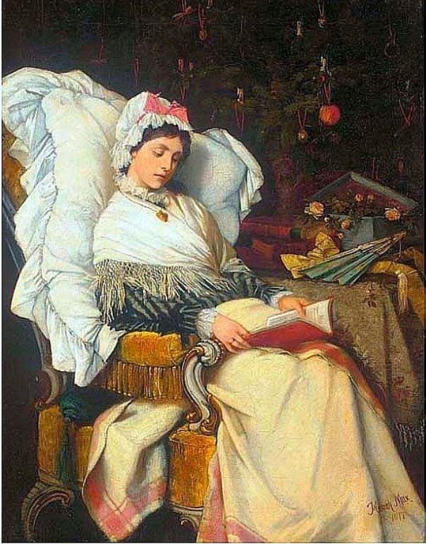 Рождественское чтение, 1877. Генрих Макс (Heinrich Max, 1847–1900), бельгийский художник