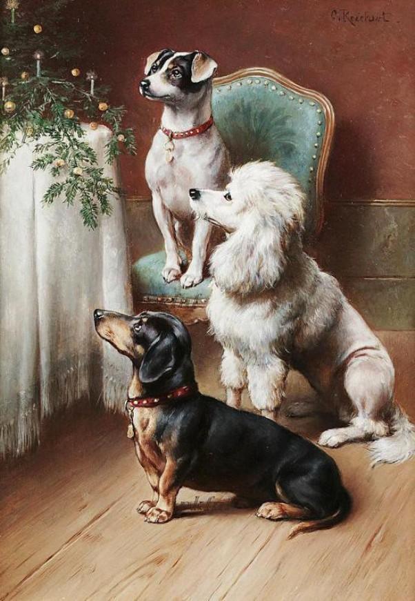 Рождественское удовольствие. Карл Райхерт (1836-1918 ), австрийский художник