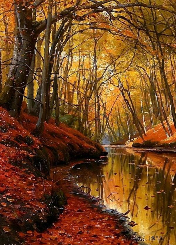 Ручей в осеннем лесу, 1893. Петер Мёрк Мёнстед (1859-1941), датский художник
