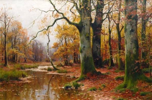 Ручей в осеннем лесу. Вальтер Морас (1856-1925), немецкий художник, мастер пейзажа.