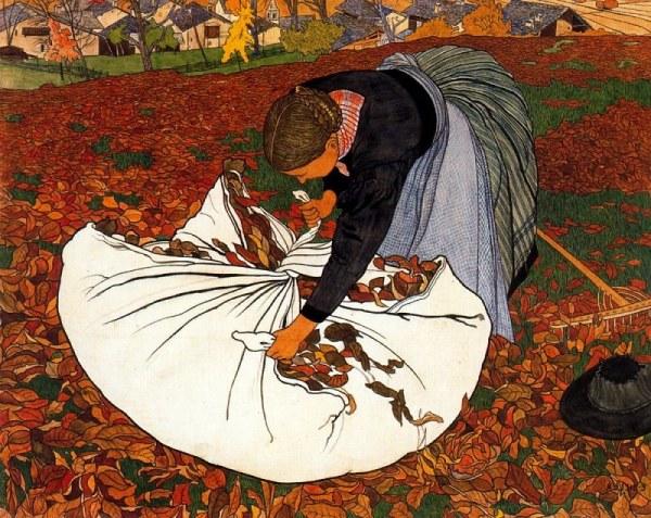 Сборщица листьев. Эрнест Би́лер (1863-1948), швейцарский художник и иллюстратор, представитель таких направлений, как импрессионизм и модерн.