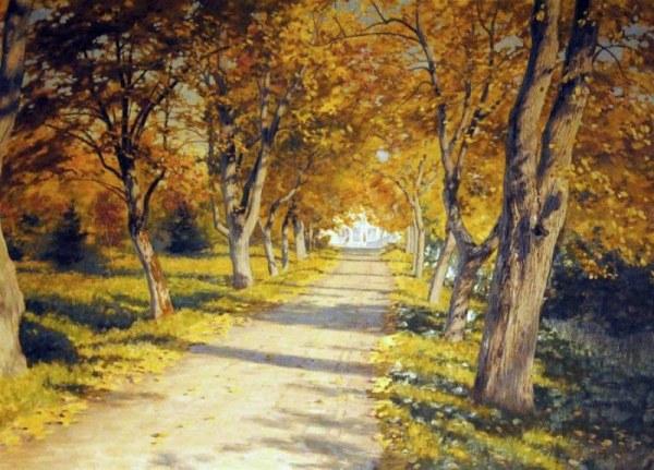 Осенняя аллея. Йохан Крутен (1858-1932), шведский художник.