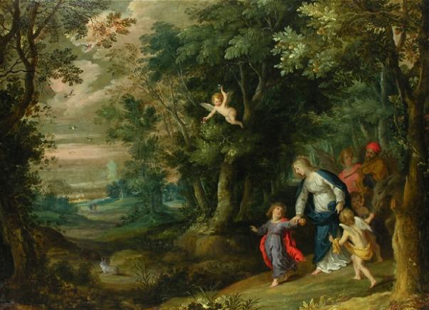 Бегство в Египет Ганса Роттенхаммера (рисунки, 1564-1625)() и Яна Брейгеля Старшего (пейзаж,1568-1625)