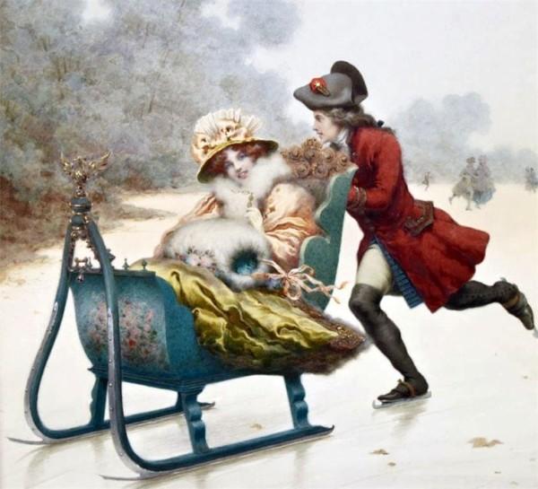 Катание на санках. Джузеппе Аурели (1858-1929), итальянский художник