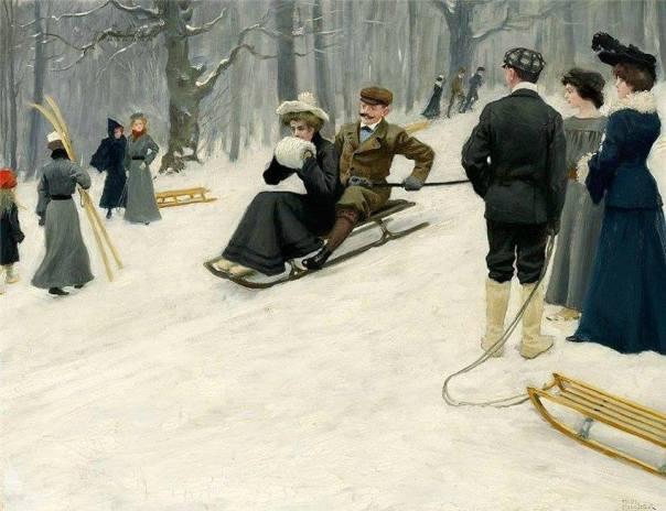 Катание на санках в парке Сёндермаркен, Копенгаген. Пауль Гюстав Фишер (1860-1934), датский художник
