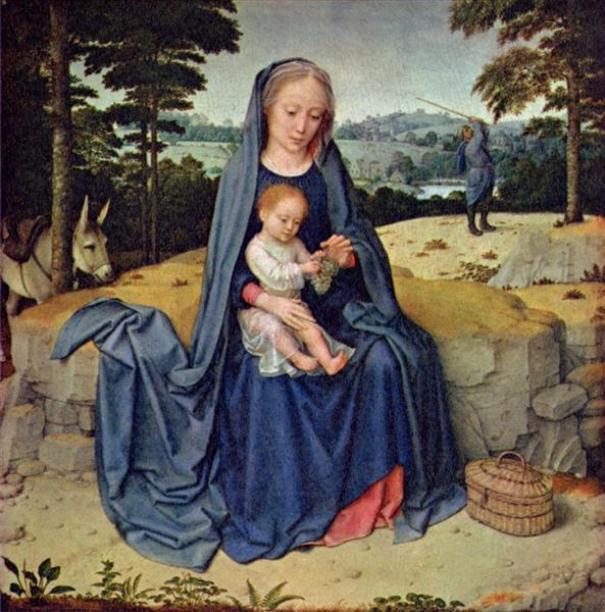 Отдых на пути в Египет. Ок. 1510. Герард Давид (нидерл. Gerard David; ок. 1460-1523), нидерландский живописец. Национальная галерея искусства. Вашингтон.