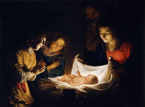 Поклонение Младенцу, около 1620, Уффици. Геррит ва н Хонтхорст (1590-1656), нидерландский художник Золотого века