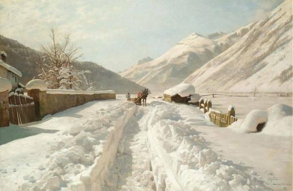 Зимний пейзаж. Уильям Мейсон Браун (William Mason Brown, 1828-1898), американский художник