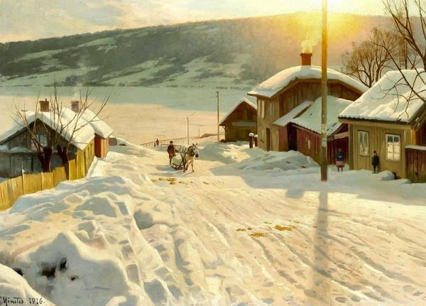 Зимний день в Лиллехаммере, Норвегия. Петер Мёрк Мёнстед (1859-1941), датский художник