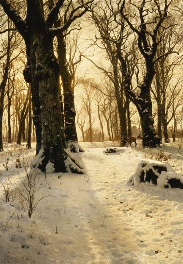 Зимний лес с соленями. Петер Мёрк Мёнстед (дат. Peder Mørk Mønsted; 1859-1941), датский художник