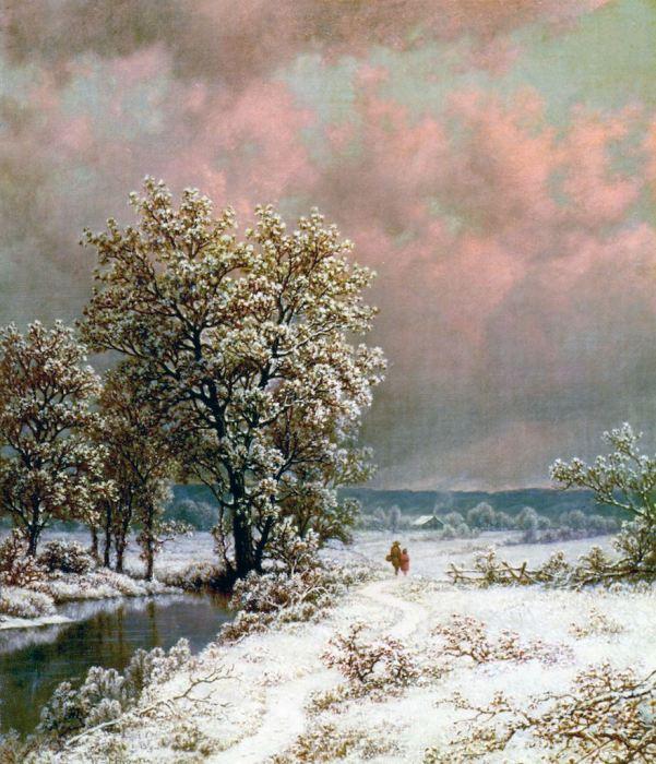 Зимний пейзаж. Уильям Мейсон Браун (William Mason Brown, 1828-1898)