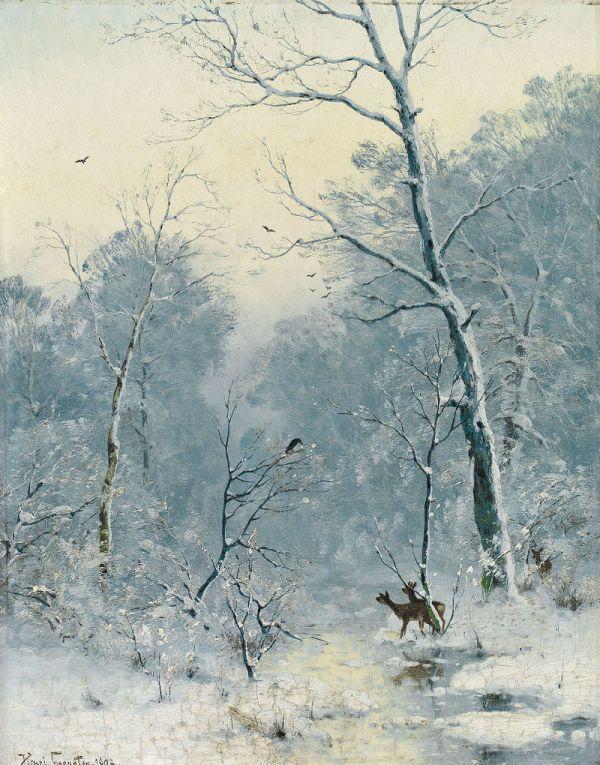 Зимний пейзаж с оленями и воронами, 1893. Генрих Гогартен (1850-1911), немецкий художник-пейзажист