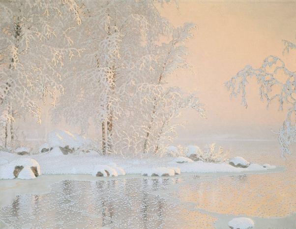 имний пейзаж с замерзшим озером, 1916. Густав Фьестад (швед. Gustaf Adolf Christensen Fjæstad, 1868-1948), шведский художник