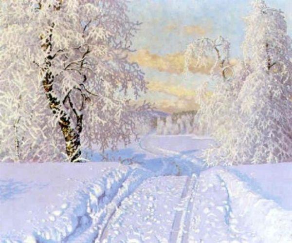 Снежная дорога. Густав Фьестад (1868–1948), шведский художник