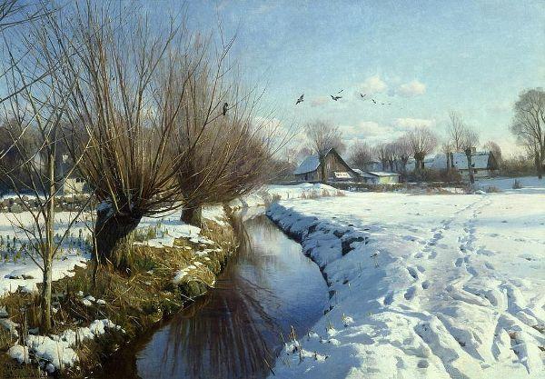 Солнечный зимний день у ручья. Петер Мёрк Мёнстед (1859-1941), датский художник