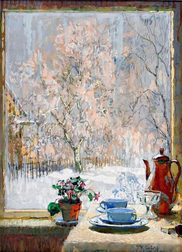За окном. Константин Иванович Горбатов (1876-1945), художник, профессор Петербургской Академии художеств.