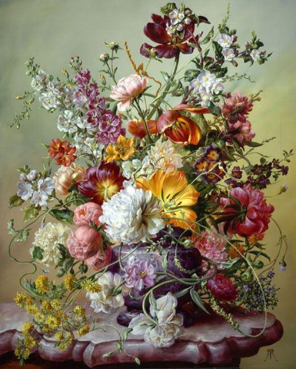 Тюльпан розовые пионы и другие цветы. Дьюла Шишка/Шиска