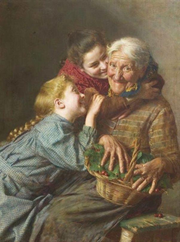 Бабушка и внучки. Гаэтано Беллей (1857-1922), итальянский художник.