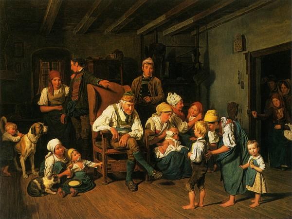 Дедушкин день рождения, 1849. Фердинанд Георг Вальдмюллер (нем. Ferdinand Georg Waldmüller; 1793-1865), австрийский художник