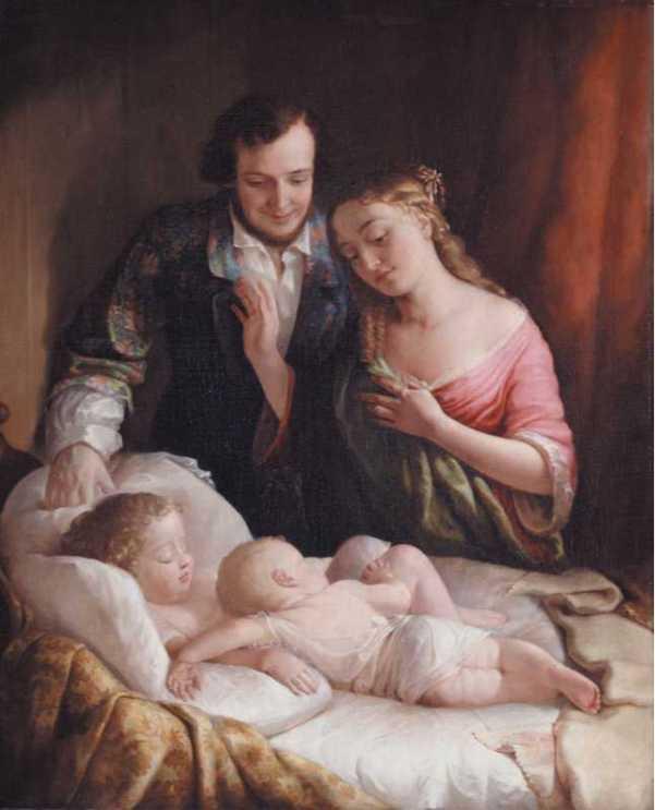 Домашнее счастье. Лилли Мартин Спенсер (урожденная Анжелика Мари Мартин; 1822-1902), американская художница