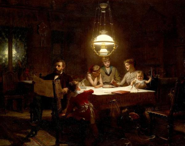 Семейное счастье. Кнут Экваль (1843-1912), шведский художник