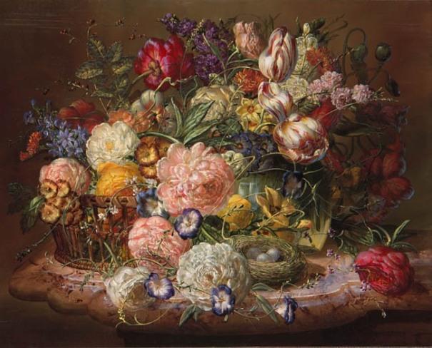 Цветочный натюрморт с птичьим гнездом. Дьюла Шишка/Дьюла Шиска