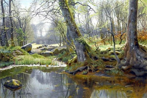 Весенний лес, 1891. Петер Мёрк Мёнстед (дат. Peder Mørk Mønsted; 1859-1941), датский художник-реалист