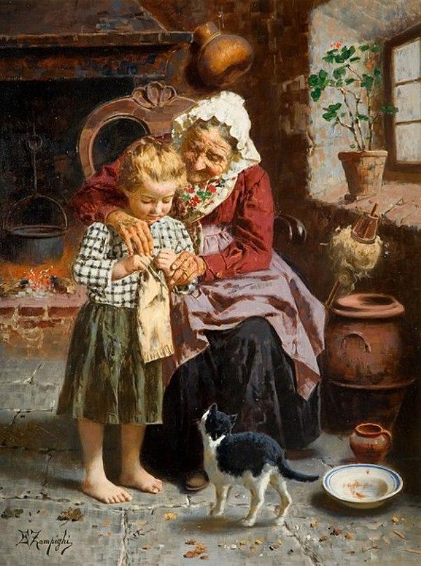 Её первый урок. Эудженио Дзампиги (1859-1944), итальянский художник