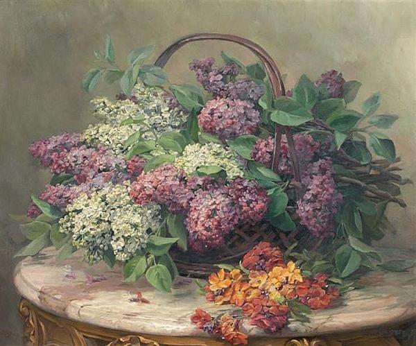 Сирень в корзине. Лео Лупп (Leo Louppe, 1869), французский художник