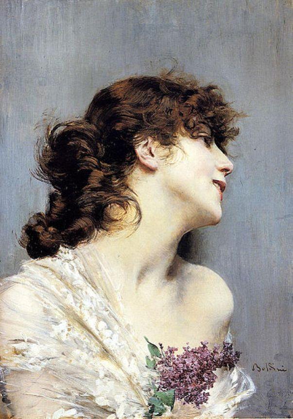 Молодая женщина с сиренью. Джованни Больдини (1842-1931), итальянский живописец
