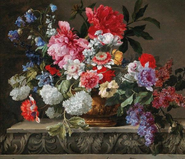 Натюрморт с розами, тюльпанами, анемонами, веточками сирени и другими цветами. Николя Бодессон (1611–1680), французский художник