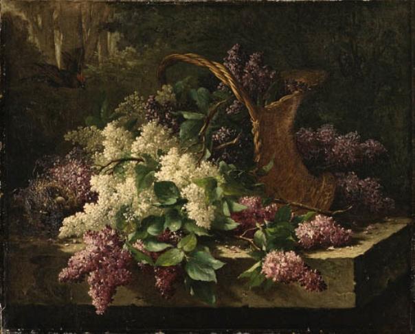 Натюрморт с сиренью в корзине и птичьим гнездом. Эмиль Клаус (1849-1924), бельгийский художник