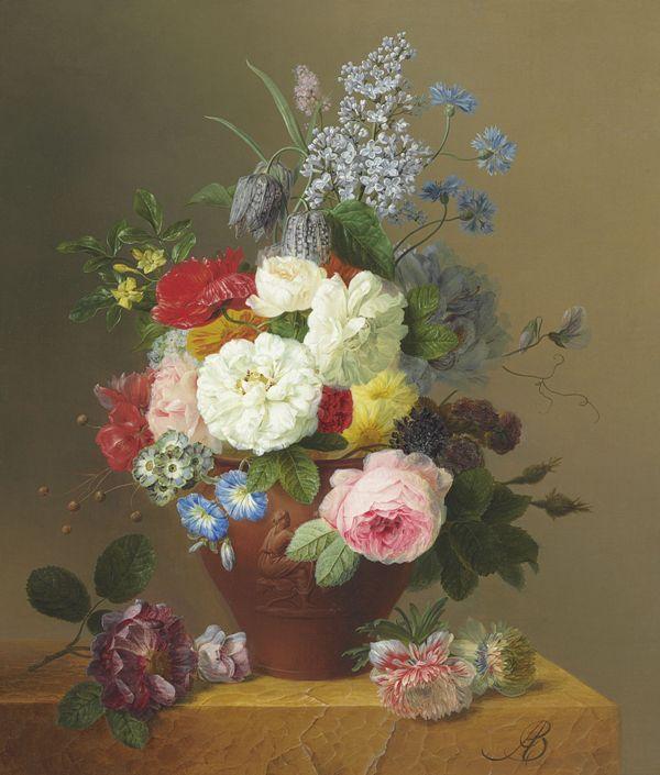 Розы, маки, васильки, сирень и другие цветы в терракотовой вазе на каменном выступе, Арнольд Блумерс (1792–1844), голландский художник.