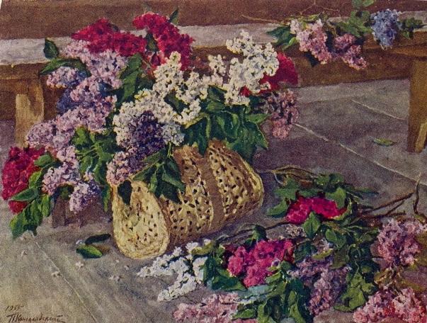 Сирень в кошелке на полу, 1955. Петр Петрович Кончаловский