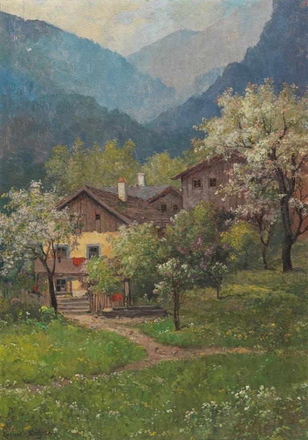 Blossoming Trees, Blossoming Lilac. Konstantin Stoitzner (Austrian, 1863-1934)