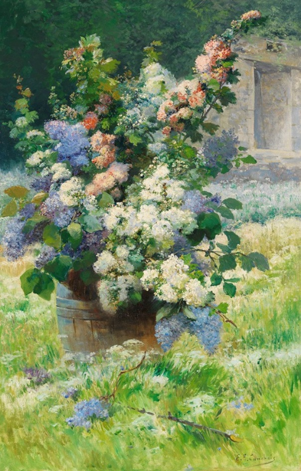 Lilac branches and hollyhocks, around 1900. Eugène Henri Cauchois