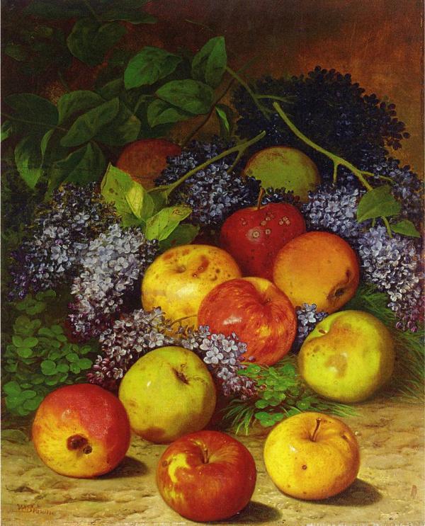 Яблоки и сирень. Уильям Мейсон Браун (1828-1898), американский художник