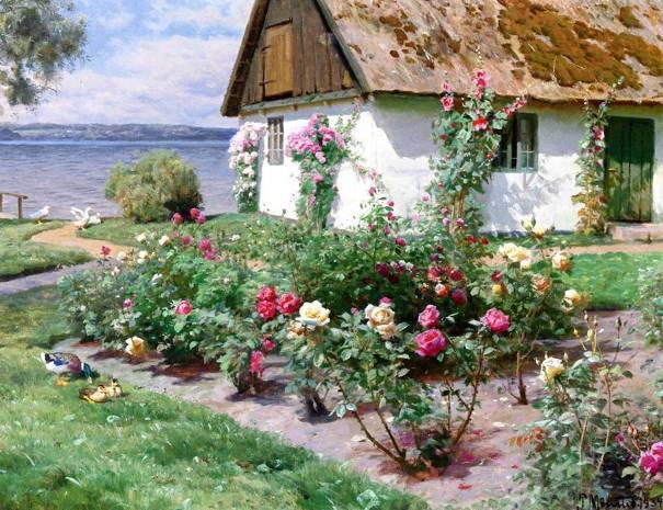 Деревенский дом с кустами роз у воды, 1934. Петер Мёрк Мёнстед (1859-1941), датский живописец