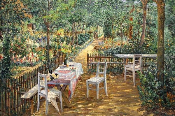 Лето в саду. Теодор фон Хёрман (1840-1895), австрийский пейзажист