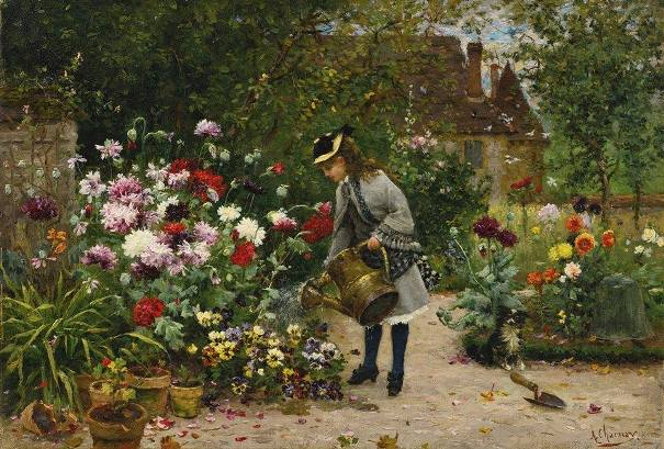 Маленькая садовница. Холст, масло. Armand Charnay (1844-1915), французский художник