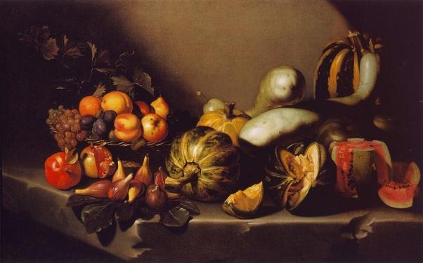 Натюрморт с фруктами на каменном выступе. Микеланджело Меризи да Караваджо (1571–1610). итальянский художник эпохи барокко
