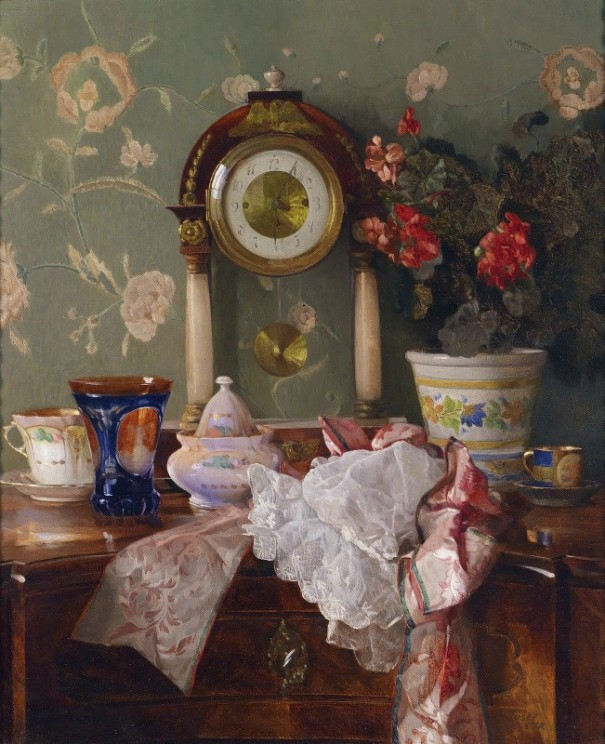 Натюрморт с каминными часами. Йозеф Шустер(1812-1890), австрийский художник