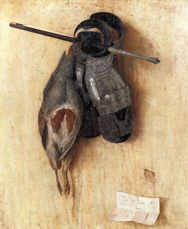 Натюрморт с куропаткой, латной руковицей и арбалетным болтом, 1504. Якопо де Барбари (итал. Jacopo de' Barbari. 1440-1516), итальянский художник эпохи Возрождения.