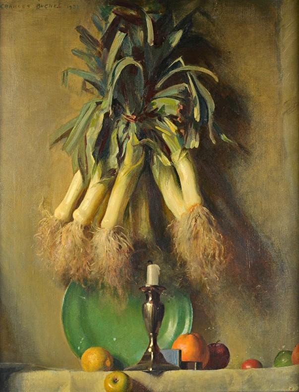 Натюрморт с луком-пореем. Чарльз Бучель (1872-1950), британский художник
