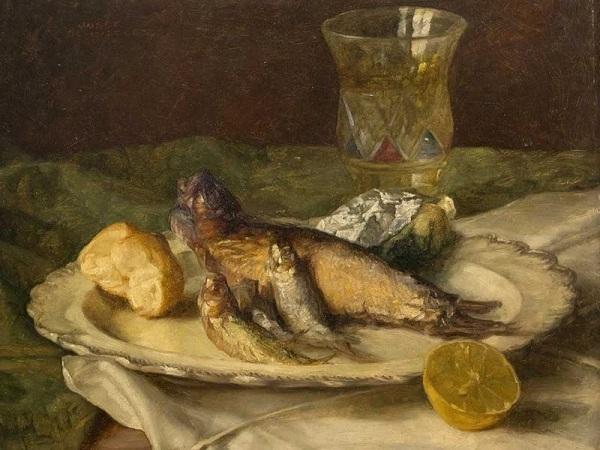 Натюрморт с рыбой. Йозеф Шустер (1812-1890), австрийский художник